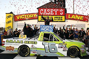 NASCAR Truck Race report Brett Moffitt endures last-lap dive-bomb by Gragson to win at Iowa