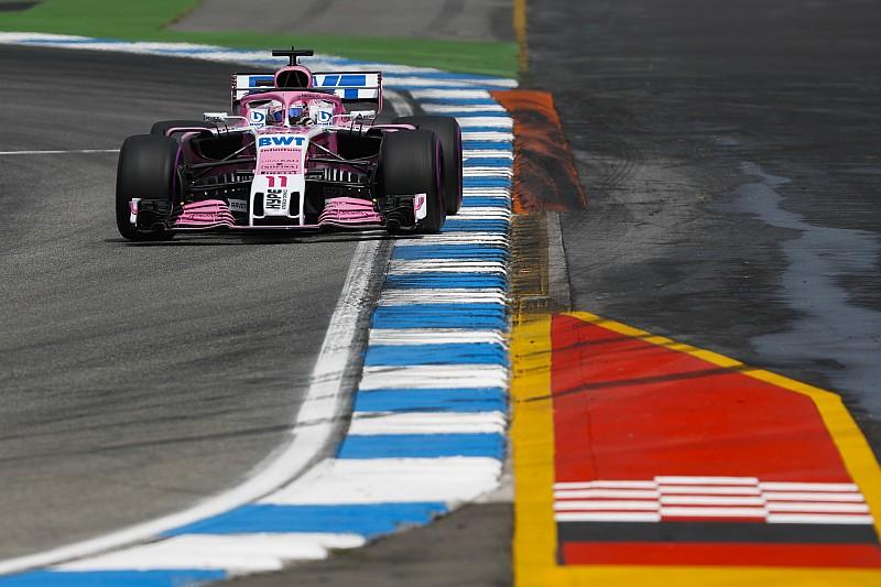 Pérez a Q3-ban, Ocon már a Q1-ben kiesett a Német Nagydíjon
