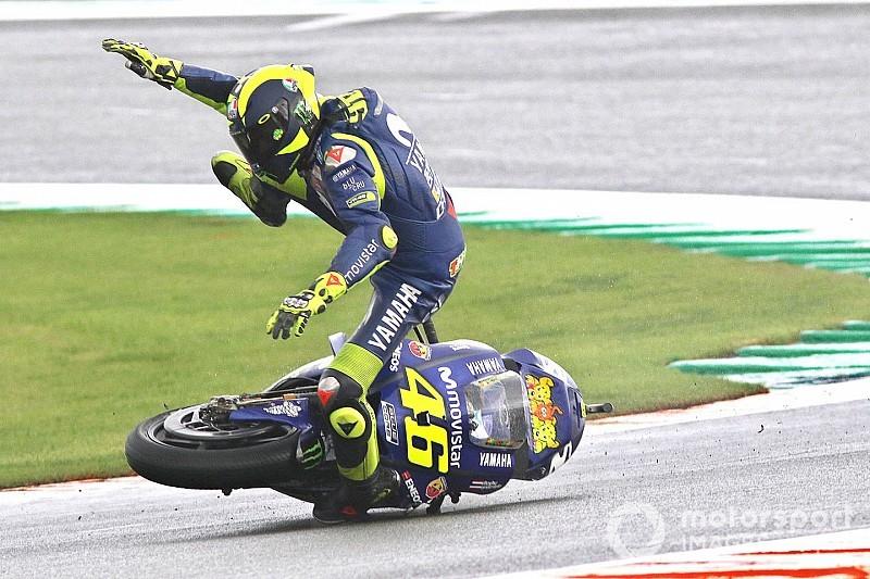 Rossi: segundo triplete de caídas en 391 carreras