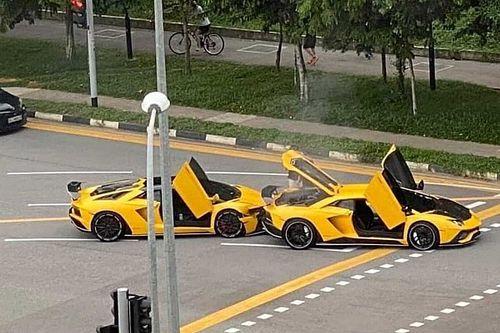 Посмотрите на нелепую аварию двух Lamborghini Aventador