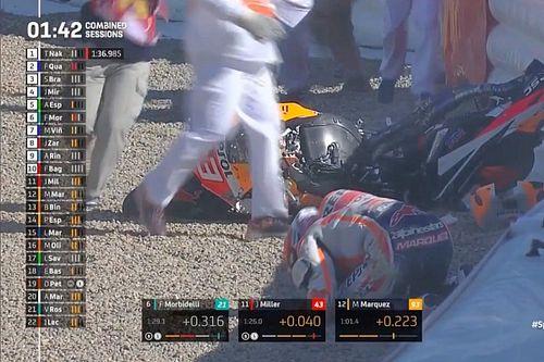 Márquez sufre una contusión cervical tras caerse en Jerez