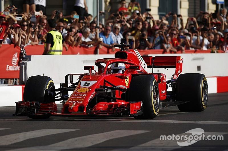 Vettel suffers embarrassing shunt in Milan F1 demo
