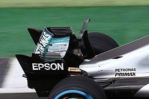 【F1】メルセデス、独創的Tウイングを使用。今後はシャークフィンも?