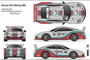 Veja carro de Nelsinho e Pedro Piquet para prova da Porsche