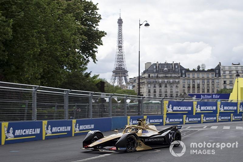 E-Prix di Parigi, Libere 1: Lotterer al comando sull'umido, Bird distrugge la sua vettura