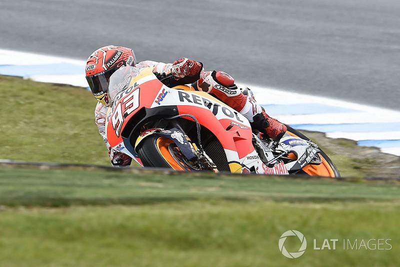 Australian MotoGP: Marquez fastest in wet warm-up