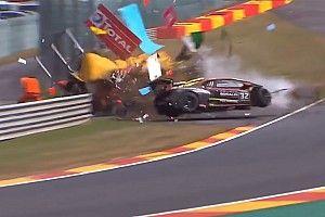 Driver and marshal injured in huge Lamborghini crash at Spa