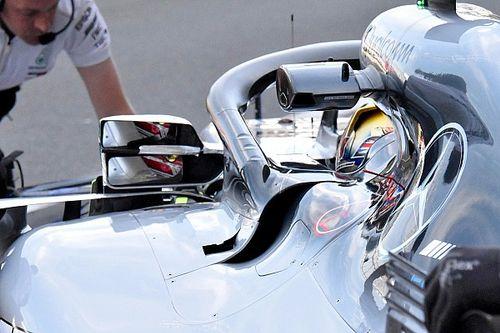 Mercedes: Hamilton ha girato con un doppio specchietto retrovisore per la FIA