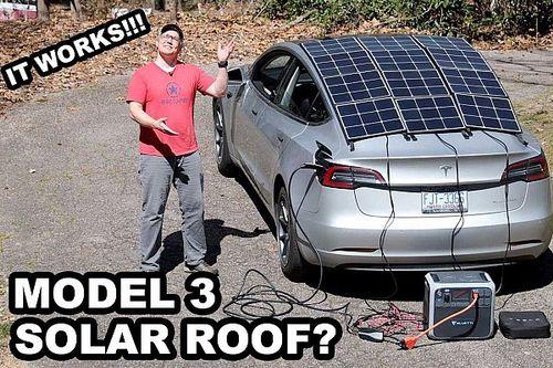 Este techo solar casero en un Tesla Model 3 es feo, pero funciona
