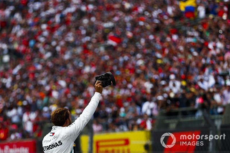 La celebración del quinto título de Hamilton, en fotos