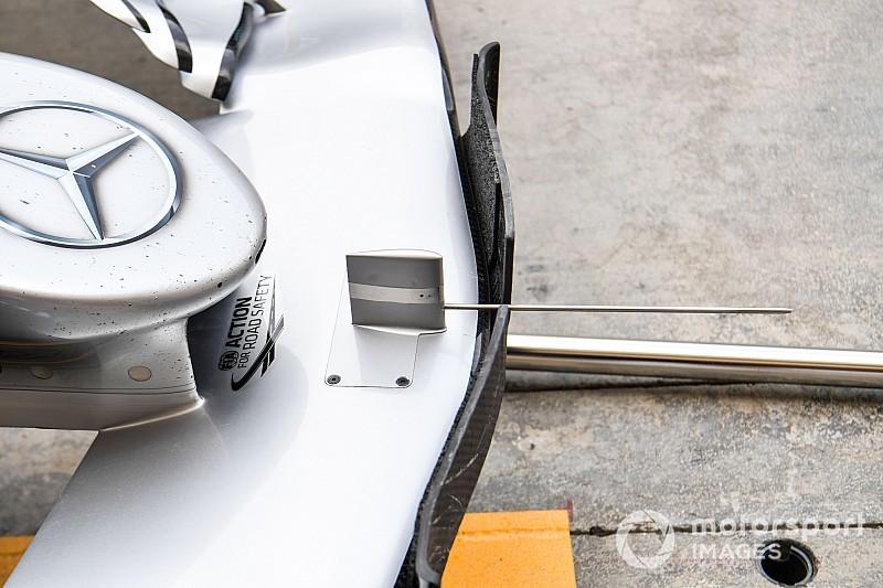 Test Mercedes: sulla W10 di Hamilton è comparso un grosso tubo di Pitot