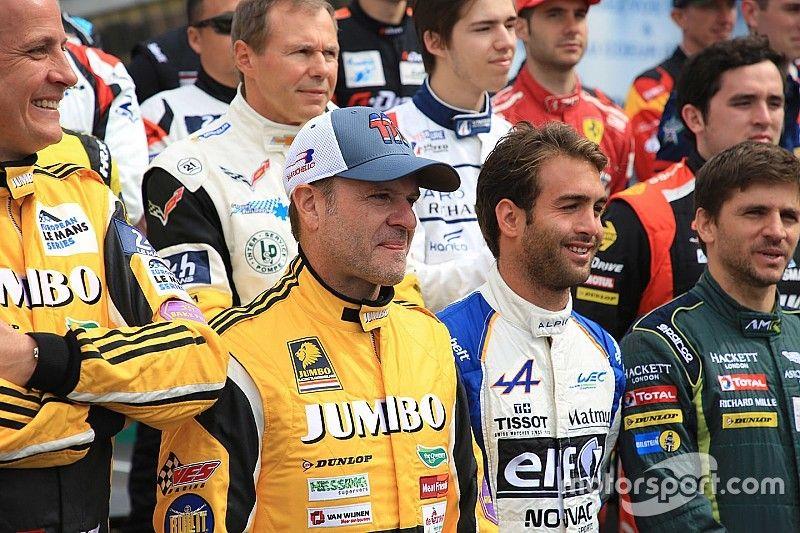 Barrichello y Kanaan celebran correr el mismo año en Le Mans
