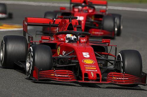 Leclerc e Vettel incuriositi dalla SF1000 nelle curve di Portimao