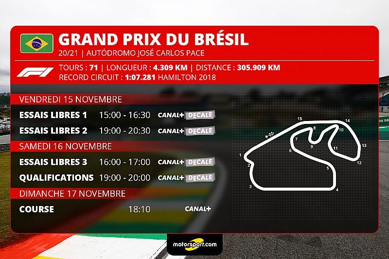 Le programme TV du Grand Prix du Brésil
