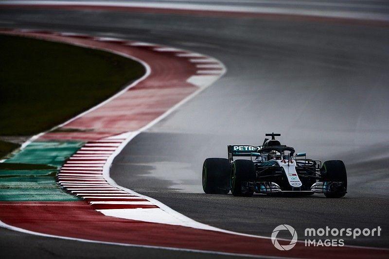 美国大奖赛FP2:赛道积水严重,汉密尔顿继续领跑