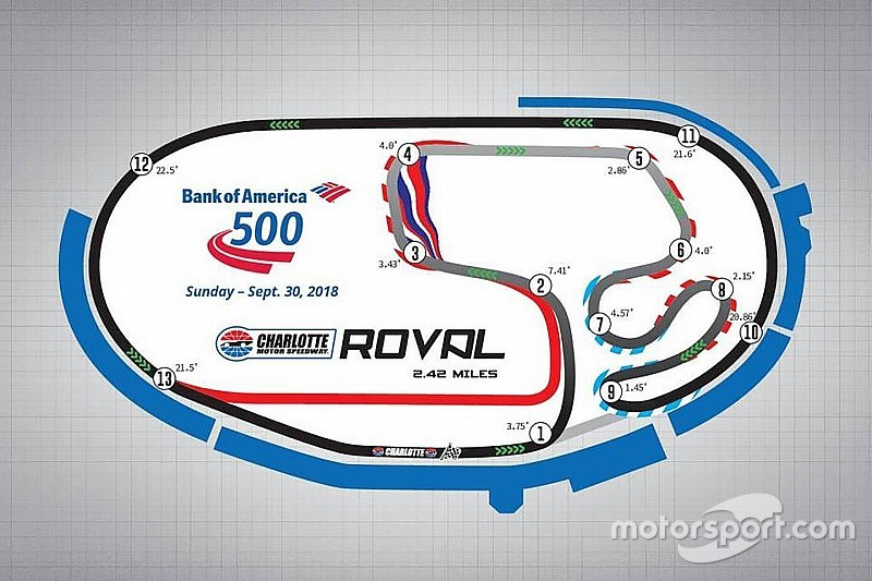New road course among changes to 2018 nascar schedules for Map of charlotte motor speedway