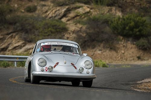 A woman and her Porsche 356 on La Carrera Panamericana