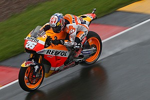 MotoGP Practice report Sachsenring MotoGP: Pedrosa tops wet warm-up, Marquez crashes
