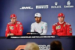 Raikkonen provoca carcajadas de Vettel y Hamilton en conferencia de prensa