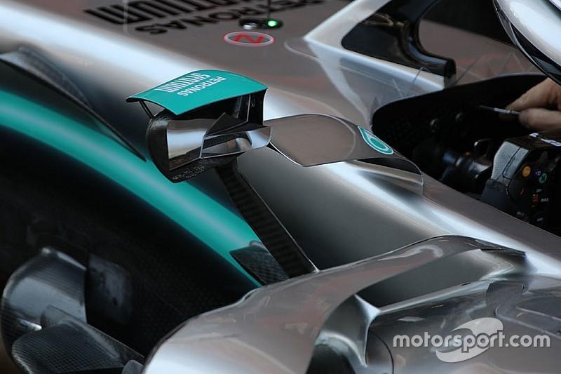 Mercedes: doppi vetri compongono lo specchietto aerodinamico della W10