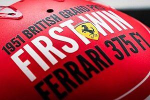 Russell, Norris en Leclerc met speciale helmen op Silverstone