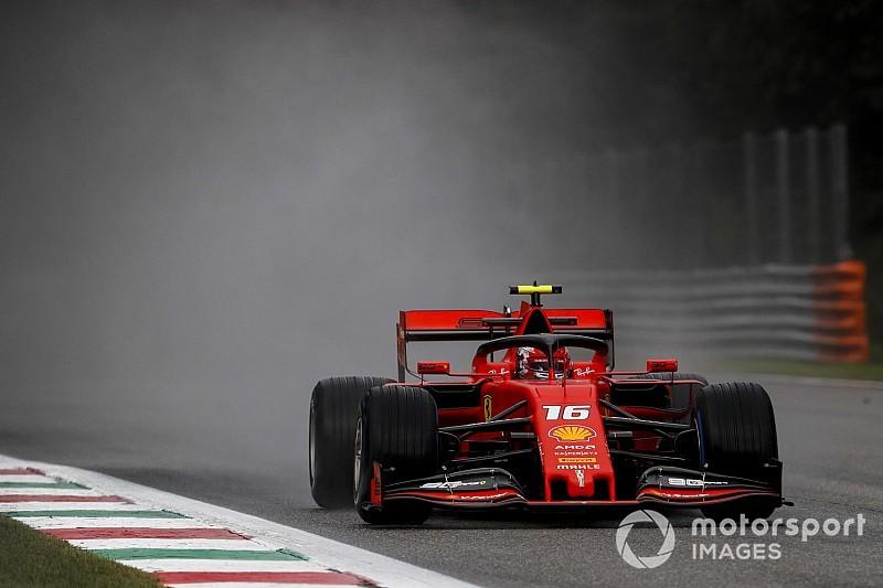 Leclerc snelste in natte eerste training Italiaanse Grand Prix