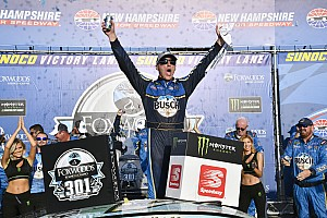 Harvick fends off Hamlin in wild finish to win at New Hampshire
