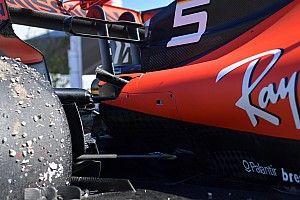 Fotos: la suspensión rota del Ferrari de Vettel, al desnudo
