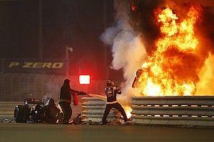 Grosjean blijft nacht in ziekenhuis na enorme crash in GP Bahrein