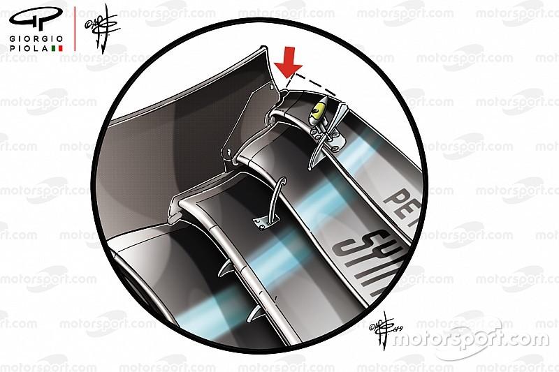 """Mercedes: el """"diablo"""", en los detalles del nuevo alerón delantero"""
