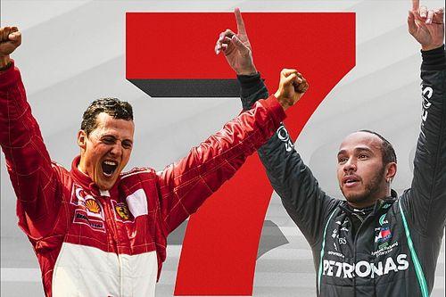 Los números de los títulos de Schumacher y Hamilton, frente a frente