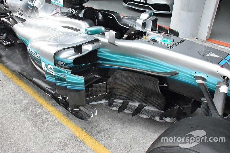 Mercedes: i coltelli del fondo ora sono di misure diverse