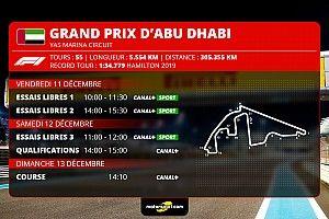 GP d'Abu Dhabi F1 - Programme TV et guide d'avant-course