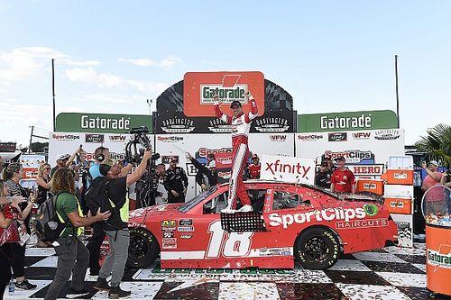 Denny Hamlin goes from last to first in Darlington Xfinity win