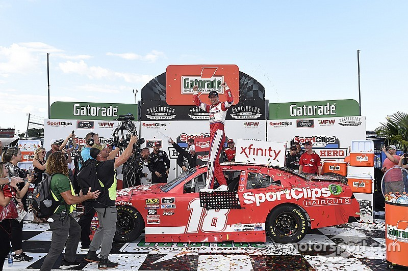 Denny Hamlin goes from last to first in Darlington Xfinity win