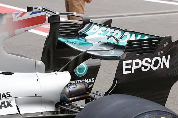 Mercedes: ali scariche e cestelli anteriori dei freni asimmetrici
