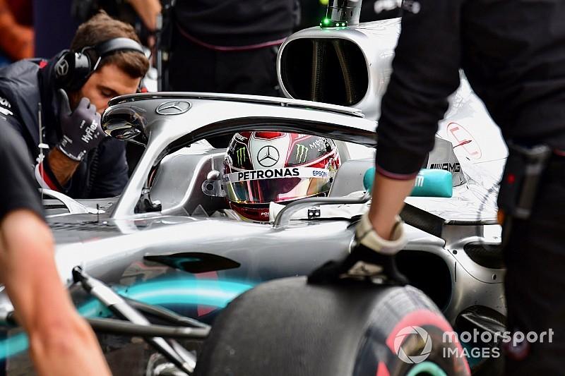 """Hamilton persigue a un rival """"imaginario"""" cuando está delante de Bottas"""