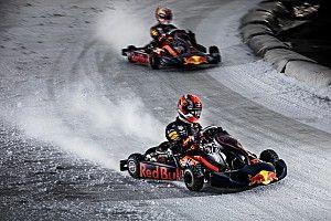Vídeo y fotos: el 'show' de Verstappen y Gasly sobre hielo