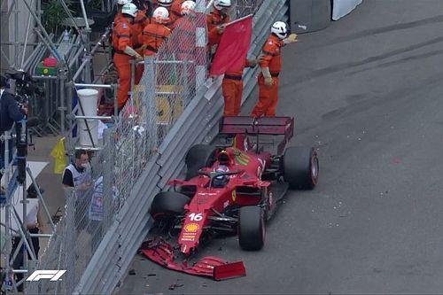 Pole position i kraksa Leclerca