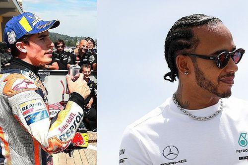 Pentacampeões, Márquez e Hamilton ensaiam desafio com moto e F1