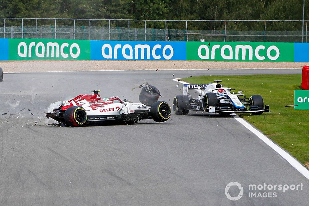 """Russell thankful for halo after """"scary"""" Giovinazzi crash"""