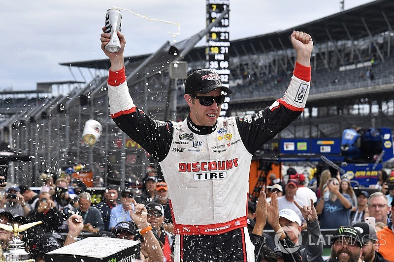 Brickyard 400: Keselowski wins after door-to-door battle with Hamlin