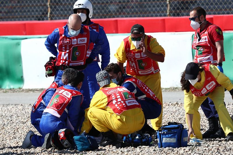Jorge Martin hospitalised after violent MotoGP practice crash