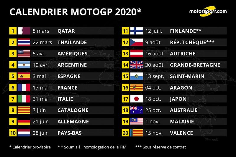 Calendrier 2021 Moto Gp Le MotoGP dévoile un calendrier de 20 dates pour 2020