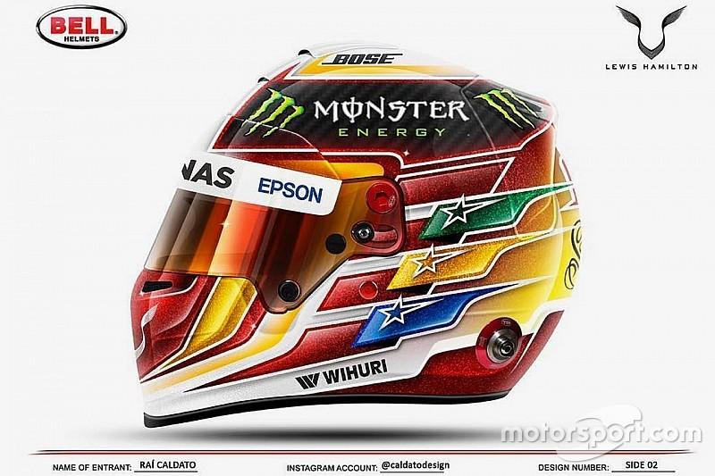 Lewis Hamilton présente son nouveau casque