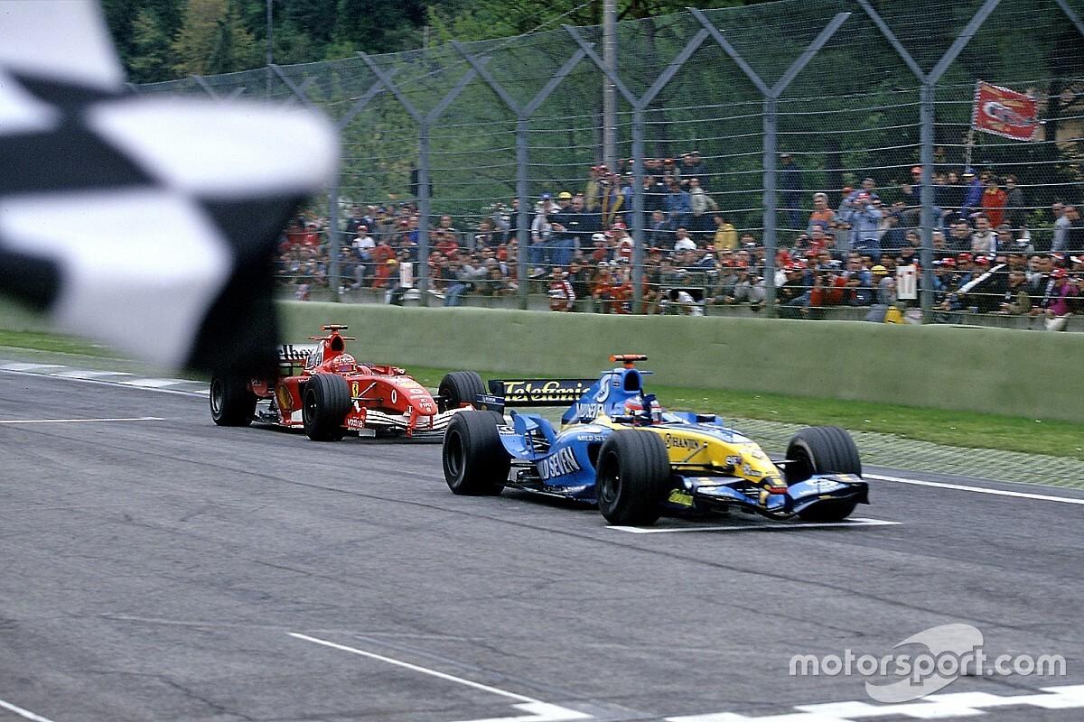 Alonso segurava Schumacher em grande duelo em Imola há 14 anos