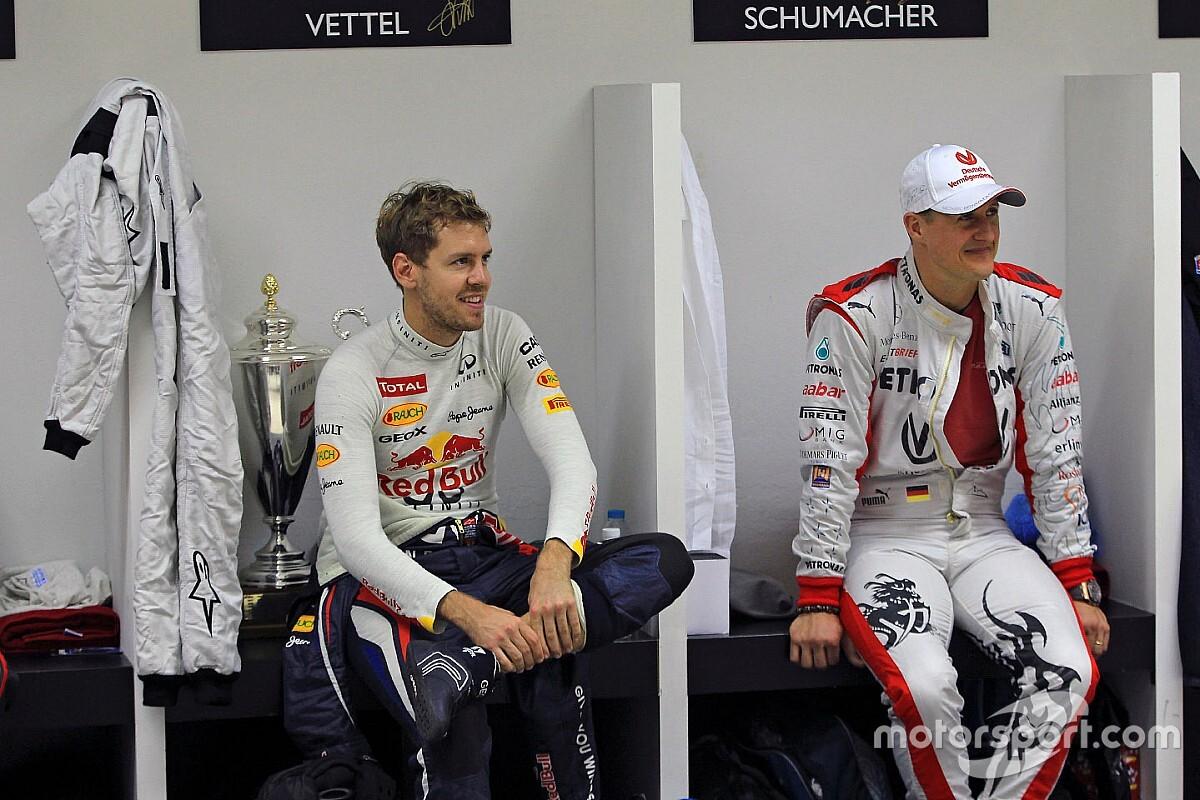 """Vettel diz que """"herói"""" Schumacher ainda é o melhor piloto de F1 que viu"""