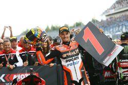 Chaz Davies, Ducati Team, fête sa victoire sur le podium