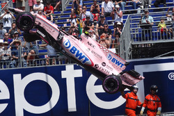 Car of Esteban Ocon, Force India VJM10 after his crash