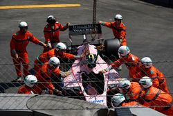 The crashed car of Esteban Ocon, Force India VJM10